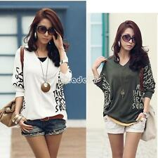 T-Shirt Tops Women V-Neck Batwing Sleeve Letter Dolman Blouse Fashion Tee EA77