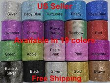 "4.75"" x 1-5 YARDS DIAMOND MESH WRAP ROLL CRYSTAL RHINESTONE SPARKLE BLING RIBBON"