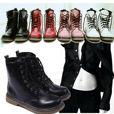 New Cool Lady's Lace up Half Martin Combat Boots Shoes Goth Punk Ankle Boots