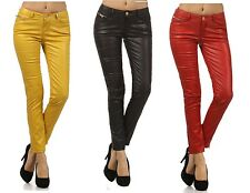 VIRGIN ONLY! Skinny Faux Leather Jeans VO Women's Yellow RED Black slim pants