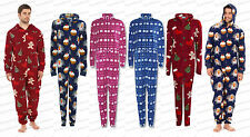 Mens Unisex New All in One Onesie Christmas Micro Fleece Gingerbread Xmas Pajama