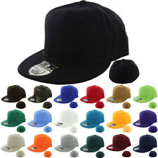Plain Fitted Cap New Baseball Hat Solid Flat Bill Visor Blank Color Basic Sport