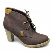 Womens Ladies Faux Nubuck Soft Cosy Block Heels Lace-Up Casual Ankle Boots Brown
