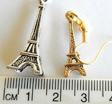 Paris, Eiffel Tower, Silver or gold tone pewter charm on hook earrings