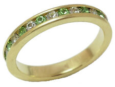 14kt Yellow Gold gp Simulated Peridot and Clear Stone Eternity Ring Sz 4-9 ET-28