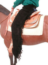 Western Show Horse Saddle Chaps Black Suede Leather Fringe S / M / L Womens Mens