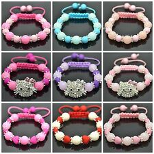 2pcs Round Heart Beads SHAMBALLA HELLO KITTY STYLE BRACELETS For Little Girls
