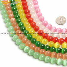 """10mm Round Lab Created Cat Eye Beads Jewelry Making Strand 15"""" 15 Colors Pick"""