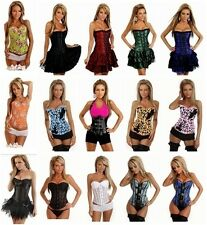 Sexy Women Satin Floral Overbust Waist Cincher Corset Body Shaper Party Clubwear