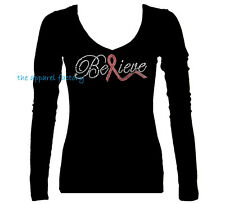 Rhinestone Breast Cancer BELIEVE PINK RIBBON Junior V Neck Long Sleeve T Shirt