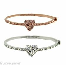 NWT JUICY COUTURE CZ Crystal Paved Heart Shape Bangle Bracelet Rose Gold Silver