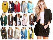 Ladies Womens Chunky Cable Knitted Button Boyfriend Cardigan Pocket Grandad Top