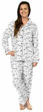 Leisureland Women's Flannel Pajama Set Top Pants Music Notes Design White