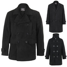 Mens Military Double Breasted Woollen Smart Winter Pea Coat Jacket Warm Outdoor
