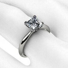 Princess Cut V Prong Solitaire Engagement Ring in Gold and Platinum