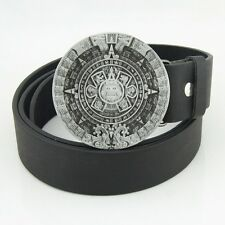Western New Silver Pewter Mayan Indian AZTEC CALENDAR Mens Metal Belt Buckle