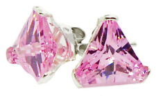 .925 Silver Earrings w Triangle CZs 6 Colors *REDUCED PRICE MULTIPLE PURCHASE*