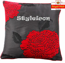 Luxurious Extravagance Flower Chenille Aplic Work With Embroidery Cushion Cover
