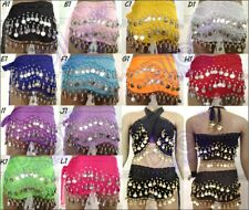 BELLY DANCE HIP SCARF COIN WRAP BELT SKIRT CHIFFON SILVER GOLD COIN SOLID COLOR