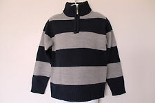 New Boys Navy and Grey Striped Jumper Age 5 Years *FREE P&P*