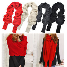 Woman Lady Winter Warmer Knitting Wool Scarf With Sleeve Soft Wrap Shawl Scarves