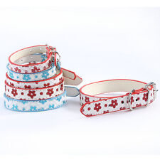 Red&Blue Bling Flower Patten Leather Pet Cat Dog Collar Adjustable Size XS,S,M,L