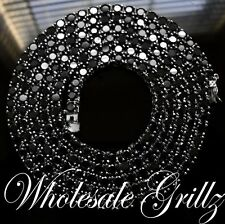 NEW!! $299 Mens Simulate BLACK Diamond ICED OUT Necklace 14k White Gold Gp Chain