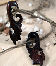 Pair Hand Made Crafted Carved Sono Wood Floral Vine Ear Hanger Plugs 8g - 1/2g