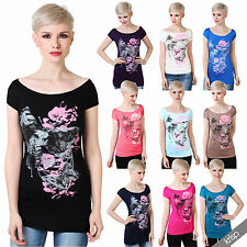 Women Ladies Boat Neck Butterfly Fancy Short Sleeve T Shirt Blouse Batwing Top