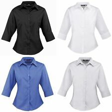 (Free PnP) Premier 3/4 Sleeve Poplin Blouse / Plain Work Shirt Sizes 6-26