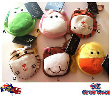 Cute Plush Animal Kids Childerns Wallet Coin Purse Money Pouch with Keyring Clip