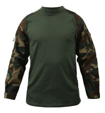 combat shirt woodland camo tactical style various sizes rothco 90025