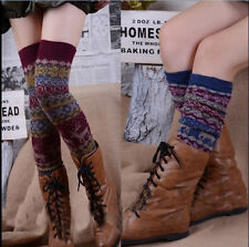 Women Girl Multicolor Snowflakes Knit Winter Warm Leg Warmers Boots Cover Socks