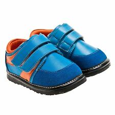 Boys Toddler Childrens Leather Squeaky Shoes - Blue & Orange - Wide Fit