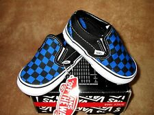 NEW VANS CLASSIC SLIP ON SHOE MED CHECKERBOARD PRNCSS BLUE/BLK TODDLER 5