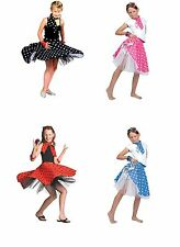 ROCK N ROLL 1950s ONE SIZE SKIRT CHILD FANCY DRESS COSTUME ALL COLOURS
