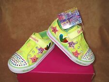 NEW SKECHERS LIGHT UP TWINKLE TOES SHOES SUPERSTYLE LIME TODDLER  5T