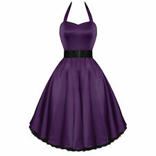 Hearts and Roses Purple Satin 50s Rockabilly Pinup Party Prom Swing Prom Dress