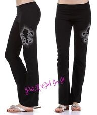 PLUS SIZE FOLD OVER WAIST CRYSTAL FLEUR DE LIS YOGA PANTS LEGGINGS 1X 2X 3X