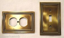Brainerd Metal Wall Plate Single Toggle Switch Duplex Outlet Cover Antique Brass