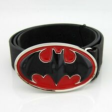 New Western Red Black Cowboy 3D Batman Superhero Mens Metal Belt Buckle Leather
