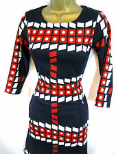 Ruby Belle @ Fever London Navy Blue Red White 1970s Dress 10-16 Fitted Shift
