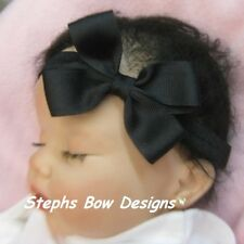 "3"" SOLID BLACK DAINTY HAIR BOW SOFT & STRETCHY HEADBAND CHRISTMAS HALLOWEEN CUTE"