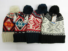 Mens Soul Star Knitted Fairisle Bobble Hat with Pom Pom One Size MH POM 1
