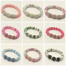 LITTLE GIRLS EXPANDABLE SHAMBALLA STYLE BRACELETS WITH 3 10MM CRYSTAL CLAY BEADS
