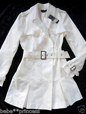 NWT bebe cream white belt pleat flare top dress coat trench jacket XS S M L sexy