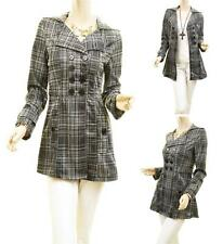 Women Gray Double Breasted London Brit Belted Designer Jacket Trench Coat Top