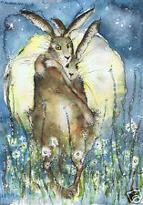 A6 HARE PRINTS FROM ORIGINAL WATERCOLOURS BY MOON HARES ART PAINTINGS & PRINTS