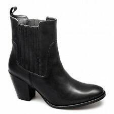 Barratts HARTHILL Womens Ladies Leather Block Heel Chelsea Ankle Boots Black New
