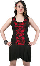 SPIRAL DIRECT Ladies Gathered Side Red Lace Dress/Girls/S M L XL XXL/Top/Tee